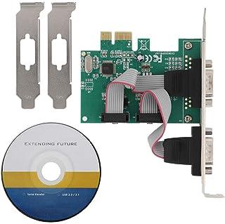 Bewinner Tarjeta PCI Express, Puerto Serie RS-232 de 2 Puertos COM a PCI-E Adaptador de Servidor de Red de Tarjeta PCI Express para Windows 98SE/ME/2000/XP/Vista/Win 7/Win 8/Win 10 32