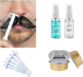 Waxing kit accessories, skin cleansing liquid, skin repair liquid, nose hair stick & small bowl, facial waxing