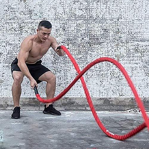 Yajun Cuerda De Batalla Battle Rope OndulacióN Ejercicio Pesado Jump Rope 12 M Fuerza del Cuerpo Rojo para Entrenamiento De Fuerza Y Resistencia De Ajuste Cruzado