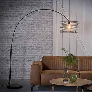 famlights Riccardo Lampe à arc en métal antharzite 1 ampoule E27 Design industriel tourné vers le haut pour le salon | Lam...