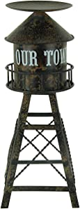 DeLeon Collections portacandele di metallo finitura anticata metal Water Tower candele a colonna 12,1 x 29,8 x 12,1 cm marrone