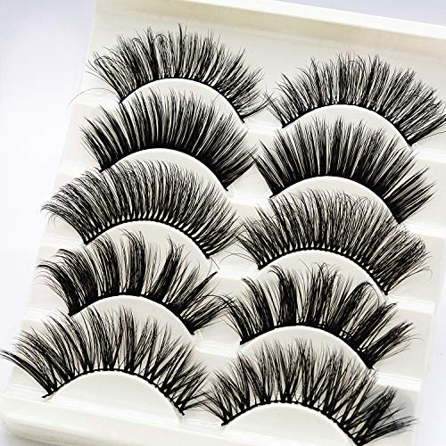 Egurs False Eyelashes - 5 Paires de Cils de Vison 3D naturels multipoints