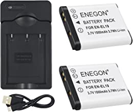 ENEGON Pack Replacement Battery and Charger for Nikon EN-EL19 and Nikon Coolpix S32 S33 S100 S2800 S3100 S3200 S3300 S3500 S3600 S4100 S4200 S4300 S5200 S5300 S6500 S6600 6800