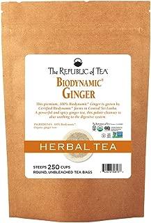 The Republic of Tea Biodynamic Ginger Herbal Tea, 250 Tea Bag Bulk