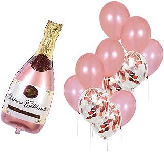 Rose Gold Champagne Bottle Wine Mylar Balloons Party Decoration Kit Valentine's Day Bridal Shower Wedding Bachelorette Cel...
