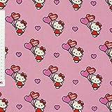 Dekostoff Hello Kitty Katze mit Herzluftballon pink rosa