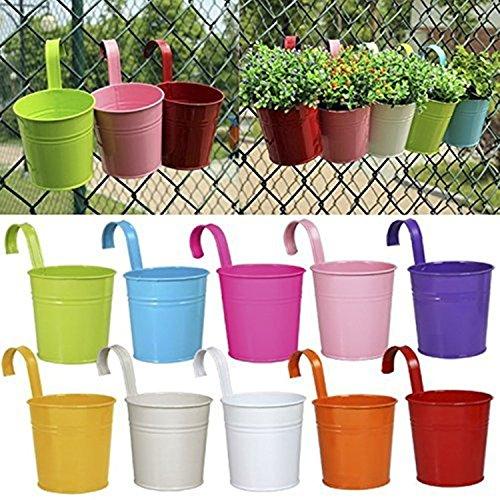 lulalula Lot de 10 pots de fleurs, pots de jardin en métal à suspendre, pots de fleurs, pots de fleurs, décoration d'intérieur – Crochet amovible