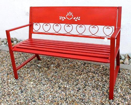 DanDiBo Gartenbank Passion Rot 121495 Bank Sitzbank 120cm aus Metall Eisen Blumenbank Garten - 4