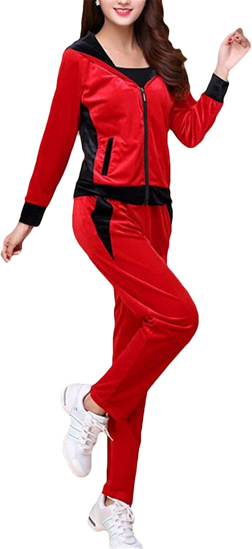 Nanquan Women 3 PCS Hooded Velvet Tracksuit Sport Tops and Pants Set