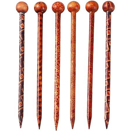 Lurrose Forchetta per capelli da 6 pezzi in legno con perno per capelli in legno per donne ragazze