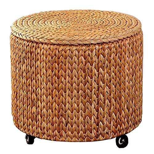CAIJUN Taburete Puff Retro Multifuncional Tejido De Ratán Marco De Bambú Caja De Almacenaje Rueda