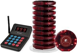 Retekess T119 Drahtloses Rufsystem 10 Pager Funkrufsystem mit 10 Batterieladebuchsen im Food Court Pizzeria Church Restaurant und Auto Show (Schwarz)
