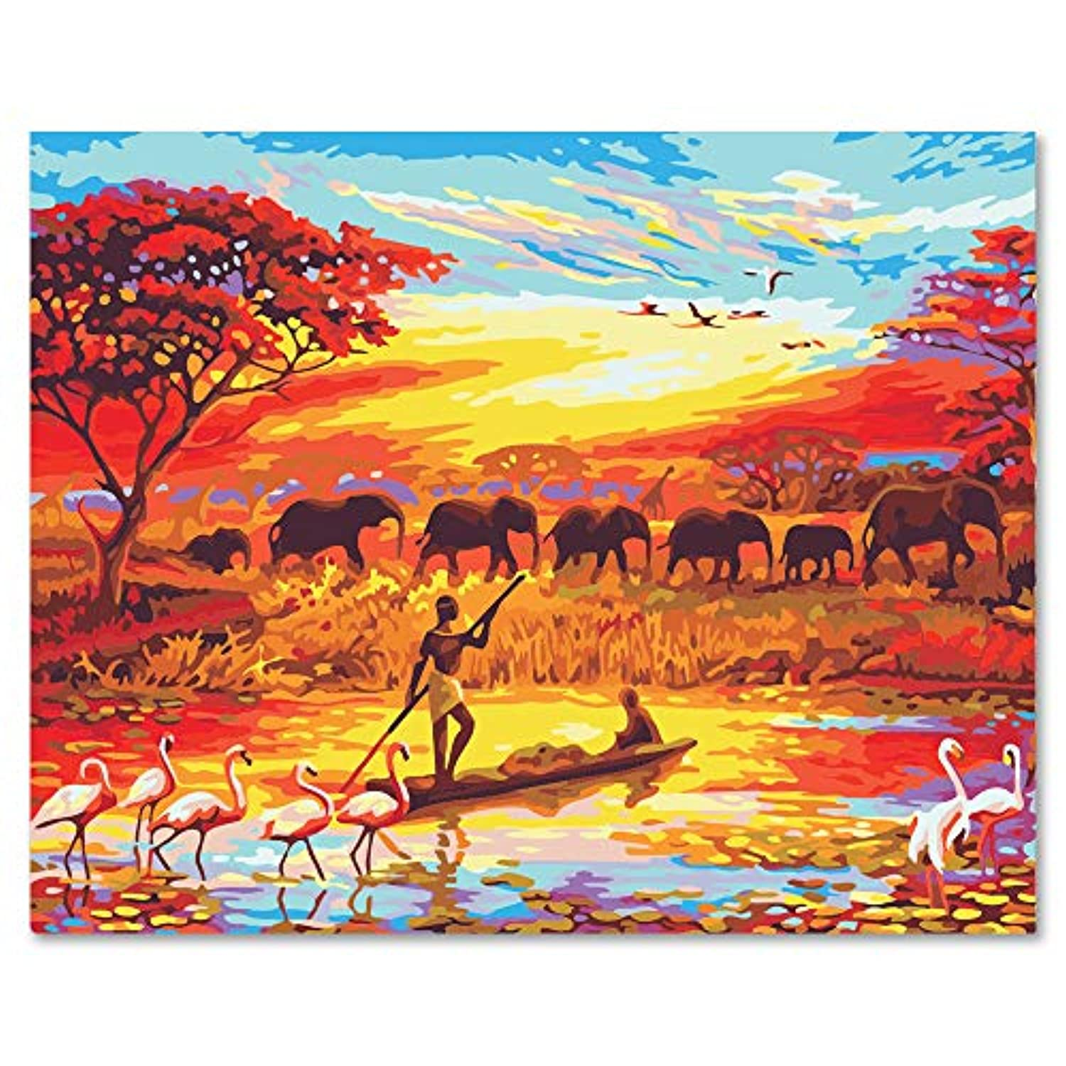 LIUDAO Paint by Number Kits Paintworks DIY Oil Painting for Kids and Adults Beginner, Sunset and Elephant Africa Animals Painting (16x20 inch,Frameless)