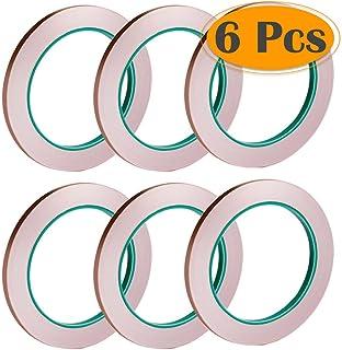 Selizo 6 Pack Copper Foil Tape with Conductive Adhesive for EMI Shielding, Slug Repellent, Paper Circuits, Electrical Repa...