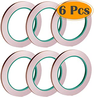 Selizo 6 Pack Copper Foil Tape with Conductive Adhesive for EMI Shielding, Slug Repellent, Paper Circuits, Electrical Repairs, Grounding
