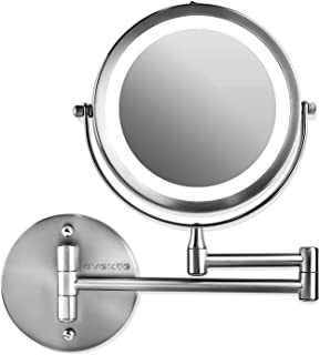 Ovente Wall Mount LED Lighted Makeup Mirror, Battery Operated, 1x/7x Magnification, 7 Inch, Polished Chrome (MFW70CH1x7x)