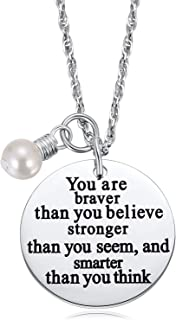 Teenage Girl Women Gifts, 2PCS Always Remember You are Braver Than You Think Necklace, Inspirational Jewelry, Graduation Her