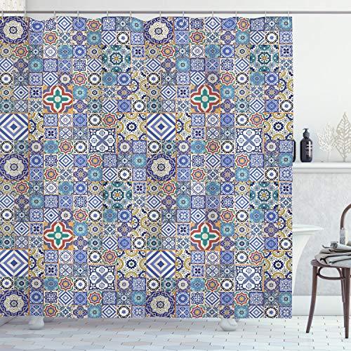 ABAKUHAUS marokkanisch Duschvorhang, Raster Quadrate Muster, mit 12 Ringe Set Wasserdicht Stielvoll Modern Farbfest & Schimmel Resistent, 175x200 cm, Mehrfarbig
