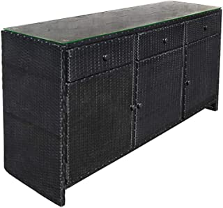 PROLINEMAX Black 3 Drawers Wicker Rattan Buffet Serving Cabinet Table Towel Storage Counter