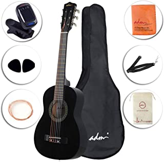 ADM Beginner Classical Guitar 30 Inch Steel Strings Black Bundle Kit with Gig Bag, Tuner, Strings, Strap, and Picks