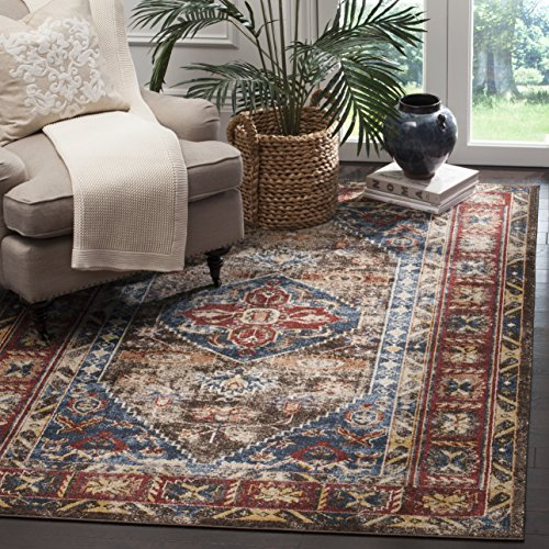 Safavieh Bijar Collection BIJ621C Traditional Oriental Vintage Brown and Royal Blue Area Rug (5'3
