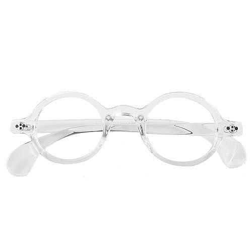 3ab7b6039da Beison Small Round Eyeglasses Plain Glasses Frame Clear Lens 42mm