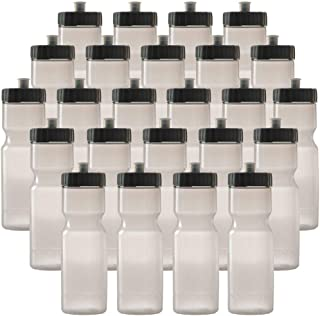 Sports Squeeze Water Bottle Bulk Pack - 24 Bottles - 22 oz. BPA Free Easy Open Push/Pull Cap - Made in USA (Clear)