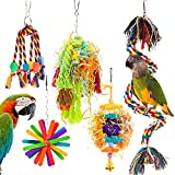 RLRICH 5PACK Bird Colorful Chewing Toys Parrot Foraging Shredder Toys Shred Hanging Foraging Toys,Comfy Perch Parrot Toys for Rope Bungee Bird Toy