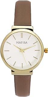HW Mart nasifaレディース小さいラウンドダイヤルスリムブラウンファブリックストラップクオーツ腕時計na-0036