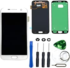 LCD Display Touch Screen Digitizer Assembly Replacement [Adhesive Sticker] [Repair Tool Kit] for Samsung Galaxy S7 SM-G930 G930A G930F G930R4 G930P G930T G930V G930W8 (White)