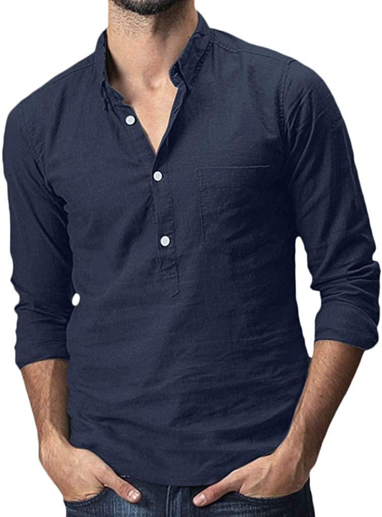 UBST Henley Shirts for Mens, Cotton Linen Front Placket Button Lapel Collar Tops Long Sleeve Casual Shirt with Pocket
