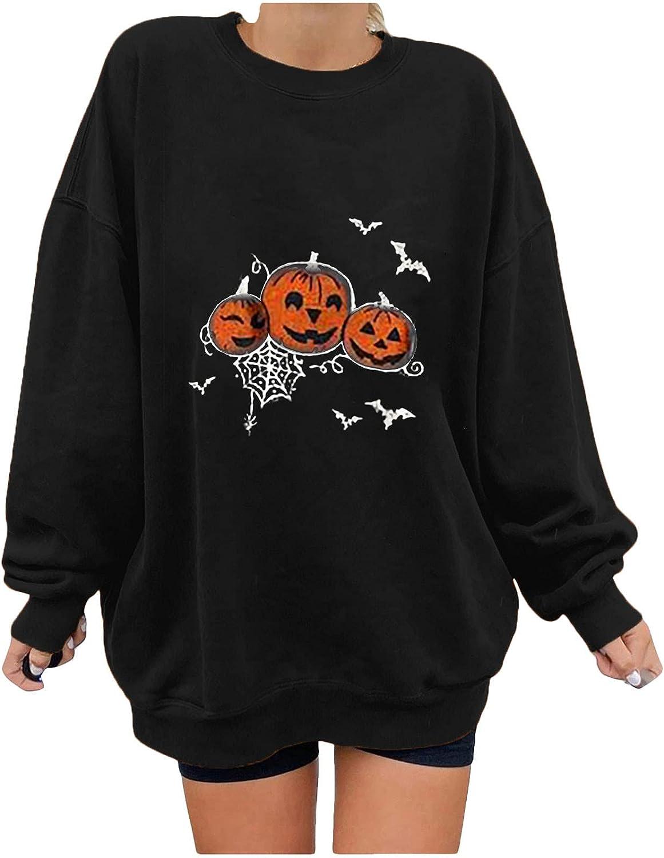 Women's Funny Halloween Pumpkin Printed Long Sleeve Sweatshirts, Ladies O-Neck Casual Loose Plain Pullover Shirts Tops