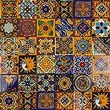 Cerames - Girsasol - Azulejos Mexicanos decorados| 10x10cm, 30 piezas | Azulejos artesanales de ceramica Talavera, hecho y pintado a mano, para baño y cocina