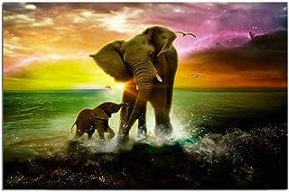Poster Wall Picture Elephants ParentChild On Sea Sunset Landscape Oil Painting Print On Canvas Pictures Home Decor 40x50cm
