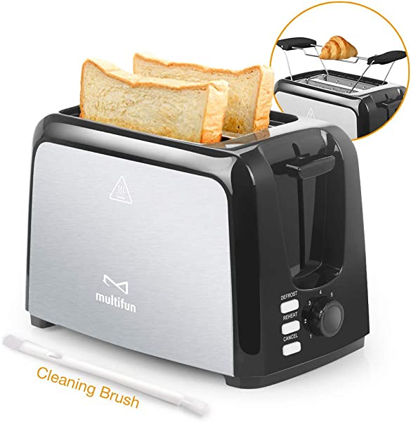 2 Slice Toaster Multifun Stainless Steel Toaster With Warming Rack Removable Crumb Tray 7 Bread Shade Settings Reheat Cancel Defrost Function Extra Wide Slot For Bagels Waffles Etc UL Certified