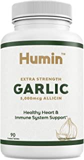 Garlic Supplement with 5000mcg of Allicin - Easy to Swallow Tablets for Extra Strength Heart Health & Blood Pressure Suppo...