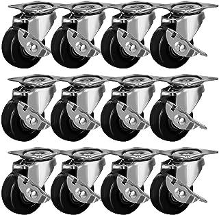 """FactorDuty 2"""" Swivel Caster with Brake Wheels Hard Rubber Base w/Top Plate & Bearing"""