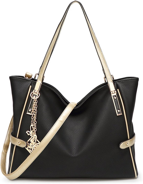 DALFR Ladies PU Vegan Leather Handbags Tan Tote Bag For Women Shoulder Bag Black Five Deal