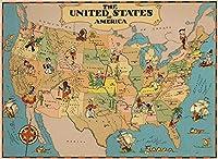 300ピースジグソーパズルアメリカの漫画の地図木製子供のための大人、知的教育減圧ゲームのおもちゃ