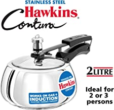 Hawkins Contura Stainless Steel 2 Liter Pressure Cooker for Induction, Electric and Gas..