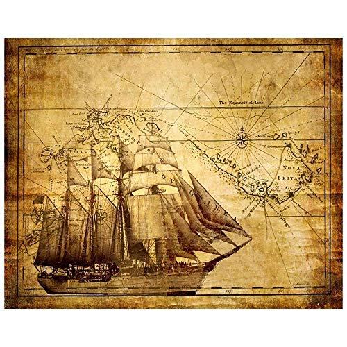 LegendArte Stampe su Tela - Mappa Antica, cm. 80x100 - Quadro su Tela, Decorazione Parete