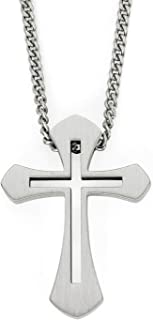 Stainless Steel Cutout Cross Men's Pendant Necklace with 24