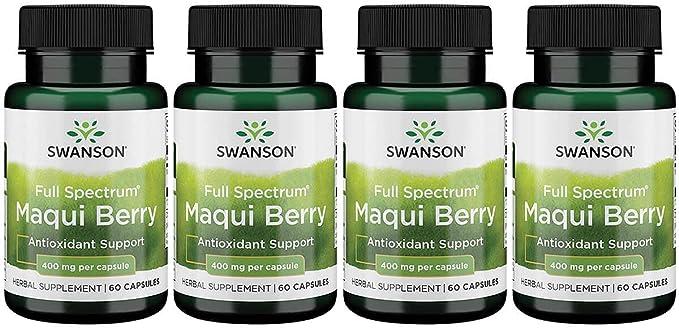 Swanson Full Spectrum Maqui Berry 400 mg 60 Caps 4 Pack