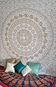 Folkulture Elephant Mandala Tapestry Hippie Wall Hanging, Indian Ombre Bohemian Mandala Bedding Bedspread Set for Bedroom, College Dorm Room Wall Art or Home Decor, Queen Size Boho Coverlet