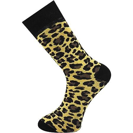 Mens Ankle Socks Leopard Print Animal Design Funky Socks Size 7-11