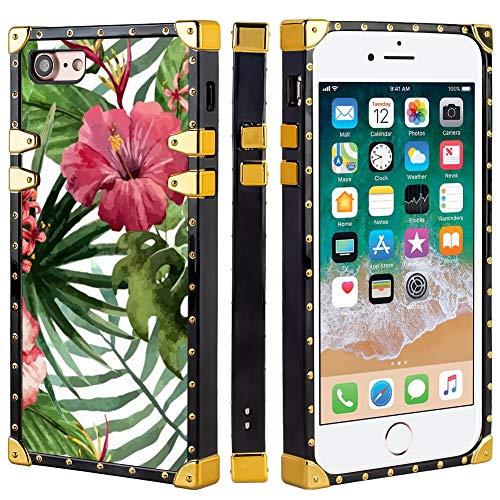 FAUNOW Funda cuadrada de lujo para iPhone 7/8/SE2 de TPU suave carcasa de PC rígida a la moda, diseño de flores tropicales hojas en cuatro esquinas de metal anticaídas para niñas y mujeres