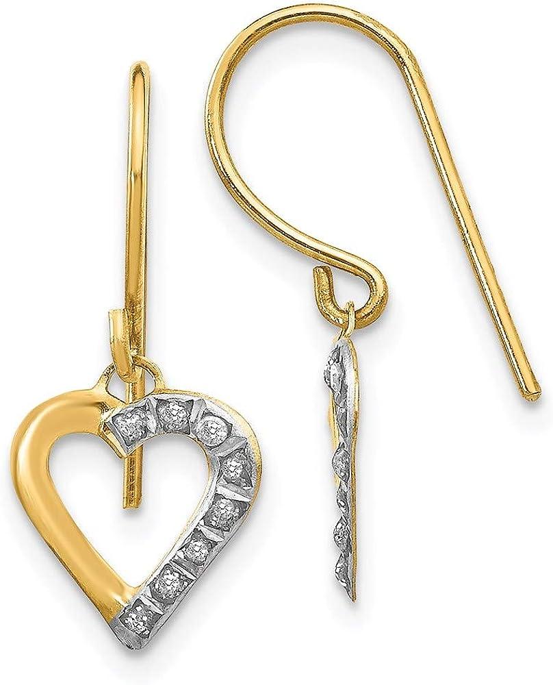 14k Yellow Gold Diamond Fascination Heart Hoop Drop Dangle Chandelier Earrings Ear Hoops Set Love Fine Jewelry For Women Gifts For Her
