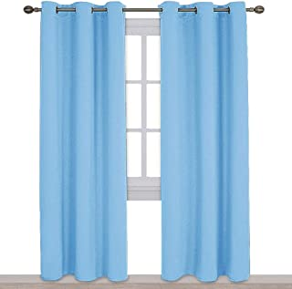 NICETOWN Tripe Wave Thermal Insulated Ring Top Blackout Window Curtains for Bedroom (Double Panels, 42 inches x 84 inches, Blue)