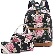 Girl's Backpack Set, Cute Lightweight Canvas College Bookbags 14