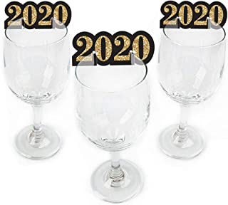 New Year's Eve - Gold - Shaped 2020 New Years Eve Party Glass Markers - Set of 24